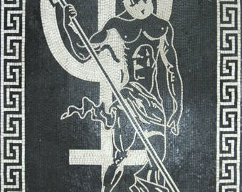 GREEK God Poseidon Wall Art Marble Mosaic FG562