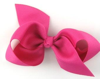 Girls Hair Bow - raspberry rose hair bow - Loopy Bows - large hair bows - big hair bows - bows for girls - pink hair bow 3.5 inch bows
