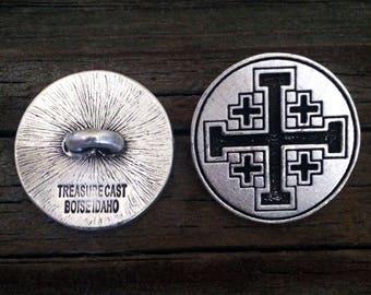 Jerusalem Cross / Crusaders' Cross Pewter Shank Buttons 1 Inch (25 mm)
