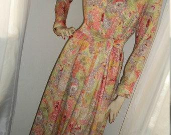 1950s Vintage Housecoat Hostess Gown Robe Leslie Fay Knits Mint Cond Size M Maxi Gorgeous Oriental Print