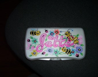 Baby Wipes Travel Case - Ladybugs and Bees - Handpainted and Personalized