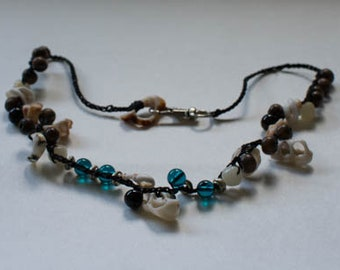 Hemp crochet necklace with shells and glass beads