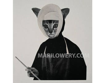 Weird Cat Art, 8.5 x 11 Inch One of a Kind Paper Collage, Retro Anthropomorphic Cat in Nun's Habit, Black and White Art, frighten