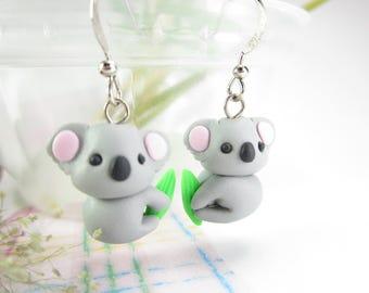 Koala Earrings, koala jewelry, koala gifts, animal charm, koala charm, polymer clay, cute earrings, animal earrings, unique earrings gift