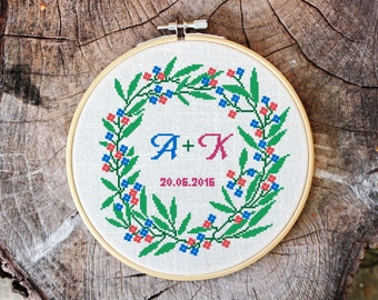 Cross stitch pattern, floral wreath, 2 alphabets bonus, baby announcement, save the date, embroidery pattern, Pdf PATTERN ONLY (W001bonus)