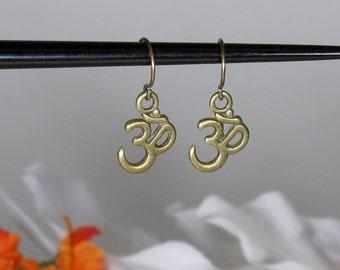 Antiqued Bronze Om Earrings
