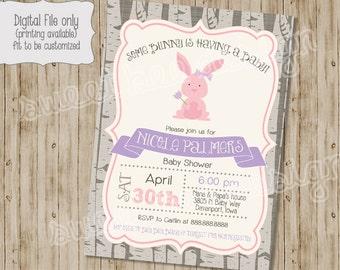 Bunny Baby Shower Invitation, Spring Baby Shower Invitation, Bunny Baby Shower, Bunny Invitation,  Baby Boy Shower Baby Girl Shower