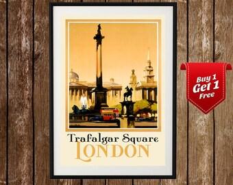 Trafalgar Square Vintage Poster , Travel Print, Great Britain Vintage Print, Westminster , England Travel , Retro Ad, London Tourism