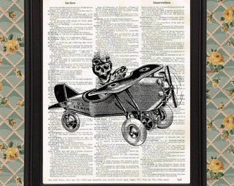 Skeleton with Aviator Hat Flying a Toy Airplane Victorian home decor Vintage Dictionary Page Art Print Halloween Skull Upcycled Recycled