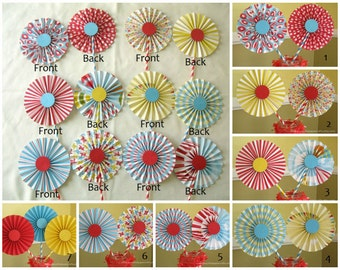 "2- 6"" Circus/Carnival Rosettes Centerpieces -Paper Fans - Birthday Party Decor - Paper Rosettes  - Candy Buffet Decorations"