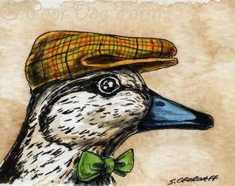 The  Amsterdam Duck ~~ No 79 of 100 series- ~ signed watercolor print