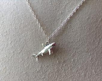 Shark Charm Necklace, silver shark necklace