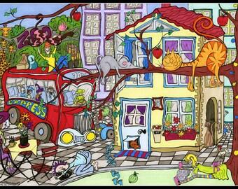 Cartoon illustration - City illustration - Zoo illustration - ZooTown - Illustration Print