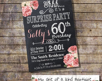 Birthday invitation surprise adult party invite coral pink flowers chalkboard 30th 40th 50th 60th any age digital printable invitation 13572