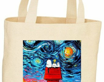 Custom vintage style Snoopy van Gogh tote bag