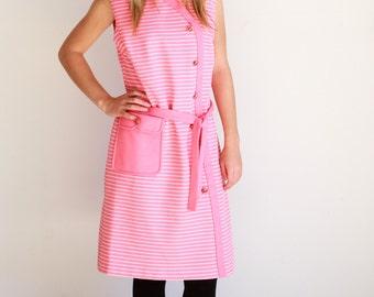 Vintage, union made ladies garment, pink stripped dress