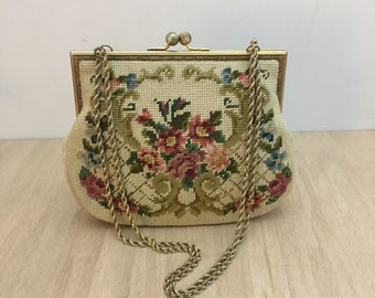 1950's Vintage Needlepoint Purse Handbag with Mid Century Floral Design Cross Body