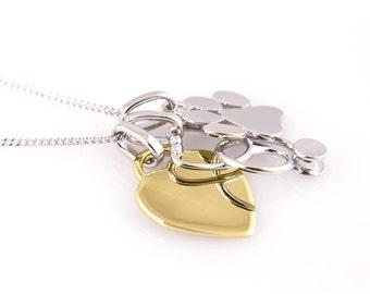 Veterinary Necklace, Stethoscope Paw Print and Yellow Gold Plated Heart -Engraved - Vet Gift -Vet Graduation - Vet Tech - Veterinarian Gift