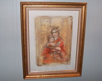 "8170:  Edna Hibel (1917-2014) Elsa & Baby I Signed and Numbered LE 81/225 Framed Print Lithograph 28"" x 35"" Fine Art @ Vintageway Furniture"