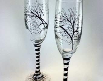 Tree with Buds Wedding Toasting Flutes, customizable colors, optional personalization
