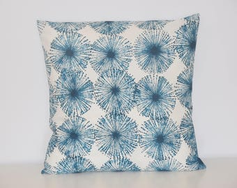 Cushion - 40 X 40 cm - fabric pattern abstract flowers - teal and white