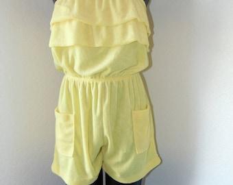 Vintage 1970s Yellow Sleeveless Shorts Romper- Size Large