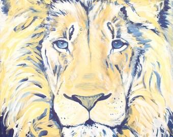 Lion Print, Safari Animal Nursery Wall Art, Yellow and Blue, 11x14, Willow Branch Studio, Gift for Children