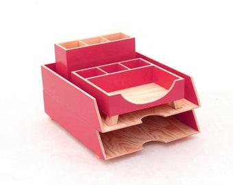 Red organizer, Office accessories, Desk organizer Red, Desktop set, Paper tray Pen holder, Red desk accessories, Back to school, Kids desk