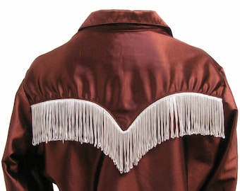 Fringed Rockabilly Cowboy Shirt Vintage Womens Rockmount Ranch Wear Western Shirt Wms Size 36 Or Size Medium Made In the USA