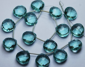 5 Match Pair,Super Rare,Green Amethyst Quartz  Faceted Heart Shape Briolettes Calibrated Size 14mm