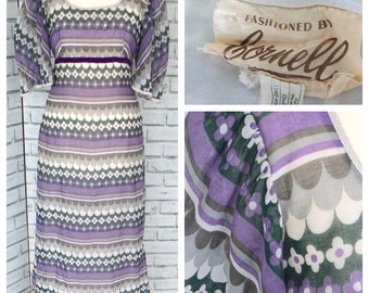 Vtg Cornell Maxi Dress 1970s Purple Current Sz UK 8 / US 12 Approx / b44