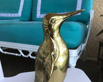 Large Vintage Brass Penguin