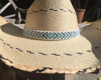 Beaded Hat band, Cowboy hat band headband, Native American Beaded Cowboy Hat band, Western wear, Rodeo wear