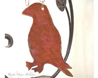 Puffin Maine Seabird Christmas Decoration, Rustic Copper Bird Xmas Tree Ornament, Beach Decor, Small Wall Hanging, Summer &  Holiday Decor