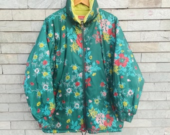 STRATOS Vintage puffy jacket, reversible green floral 80s 90s