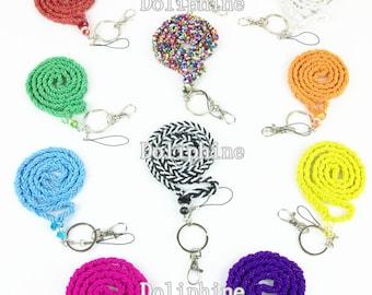 5 X colorato seme perline collana cordino portachiavi con cristallo per ID, chiave, telefono cellulare, di massa e distintivo (Free Gift Box)