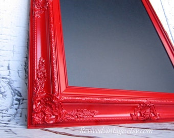 CANDY APPLE RED Framed Chalkboard Home Office Red Decor Red Wedding Kitchen Chalkboard Blackboard Office Organizer