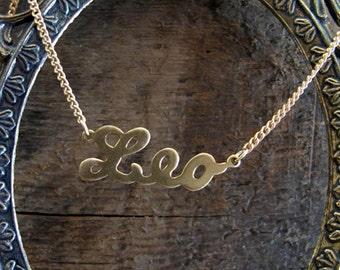 Leo Astrological Sign Brass Necklace
