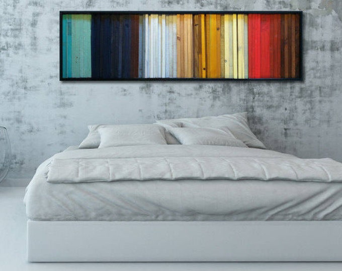 """Modern Wood Wall Art - """"Gradient""""- Wood Stripes in Red, Yellow, Brown, Teal - Reclaimed Wood Wall Sculpture - Abstract Wood Art"""