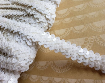 "White Sequin Stretch Elastic Braid Trim - 3/4"" Wide - 3 Yards"