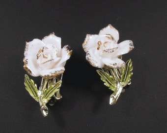 Coro Porcelain Rose Earrings, Porcelain Earrings, Coro Earrings, Flower Earrings