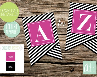 Printable Pennant Banner that includes entire alphabet: Black and Fuschia Striped (Instant Digital Download)