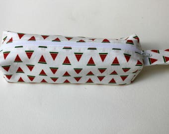 Watermelon Pencil Case, Fruit Pouch , Boxed zipper pouch.