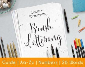 Brush Lettering   27 Pratice Sheets   guide for Beginners   Printable   Modern Hand Lettering workbook   Learn Calligraphy   Worksheets   B3