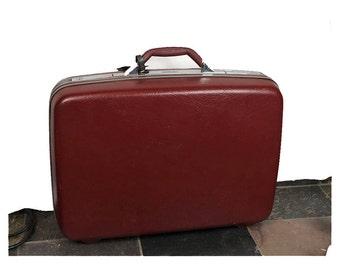 Vintage Samsonite dark red suitcase