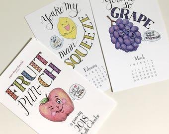 CLOSEOUT! Calendar: fruit pun calendar, wall calendar, 2018 calendar, 2018 wall calendar, funny calendar, puns, punny, gift calendar