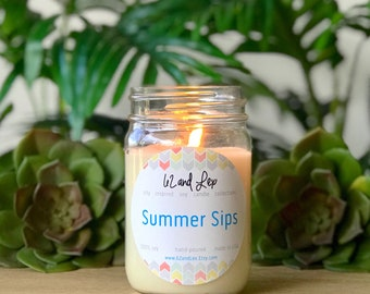 Summer Sips Soy Candle/Candle/Summer Candle/Soy Candle/Boozy Brunch/Wine Gifts