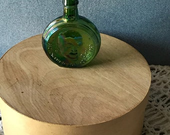 Wheaton Mini Bottle, 70's Presidential Series, Dwight Eisenhower, Green Glass Decanter