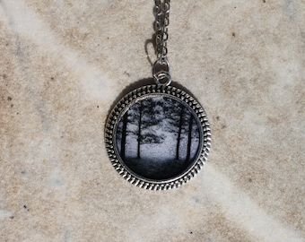 Black and white forest necklace