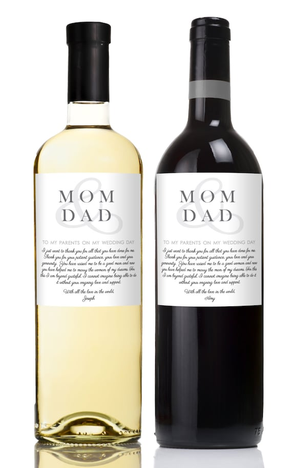 Wedding Wine Labels To My Parents On Day